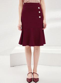 Pure Color High Waisted Peplum Skirt