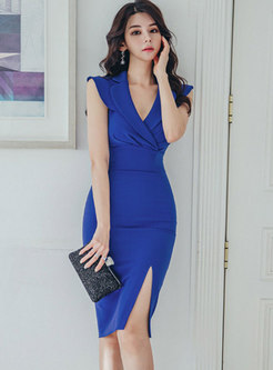 Notched High Waisted Slit Sheath Dress