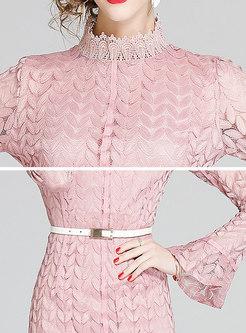 Lace Stand Collar Flare Sleeve Peplum Dress