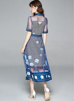 Lapel Mesh Patchwork Print Maxi Dress