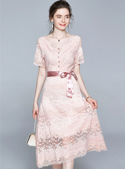 Lace V-neck Tied Openwork Midi Dress