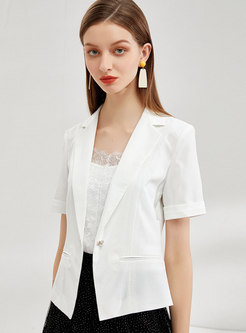 Short Sleeve Wide Lapel Slim Blazer