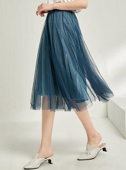 Elastic Waist Mesh Pleated A-line Skirt