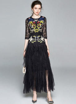 Mesh Patchwork Embroidered Openwork Maxi Dress