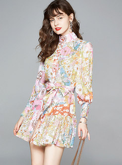Stand Collar Floral Pleated Tied Skater Dress
