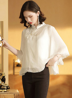 Retro Stand Collar Embroidered Loose Top