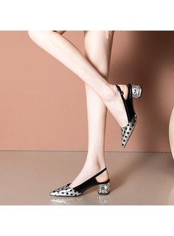 Polka Dot Pointed Toe Block Heel Sandals