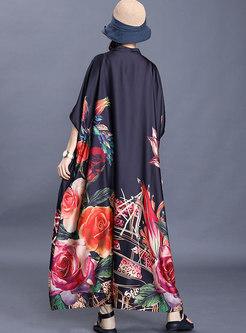 Mock Neck Print Bat Sleeve Loose Maxi Dress