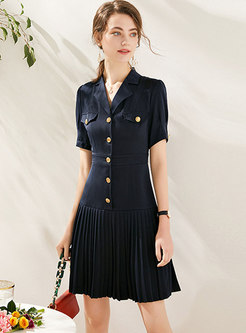 Button-front Wide Lapel Pleated Blazer Dress