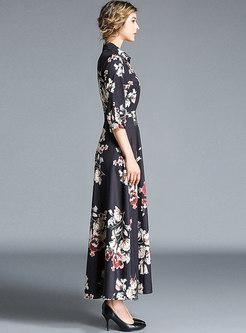 Print Lapel Big Hem Slim Maxi Dress