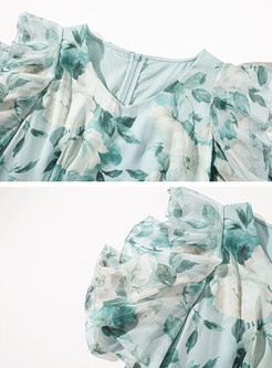 Print Open Shoulder Ruffle Skater Dress