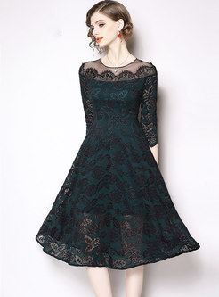 Lace Patchwork Perspective Skater Dress