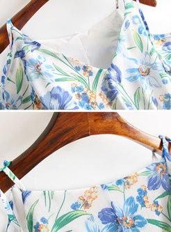 Floral Open Shoulder Tied Skater Dress