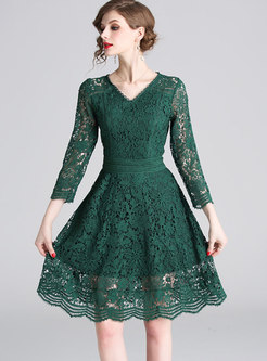 Pure Color V-neck Openwork Lace Skater Dress
