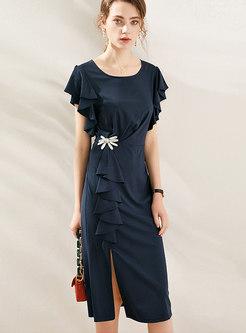 Gathered Waist Ruffle Slit Bodycon Dress