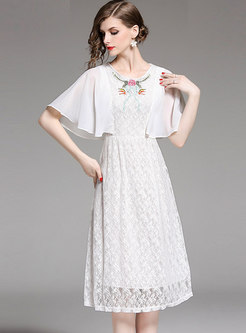 Lace Patchwork Embroidered Cloak Skater Dress