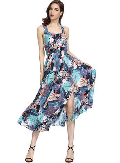 Square Neck Backless Print Beach Maxi Dress