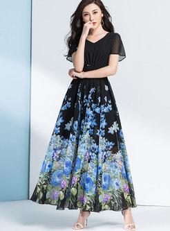 Boho Print Chiffon Big Hem Beach Maxi Dress