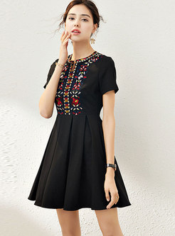 Embroidered Crew Neck Ruched Skater Dress