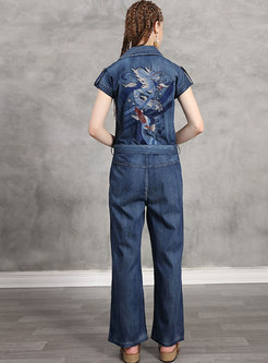 Wide Lapel Embroidered Belted Denim Jumpsuit
