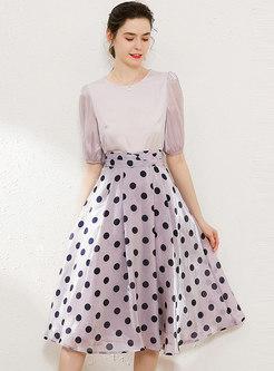 Polka Dot Puff Sleeve Slim Suit Dress