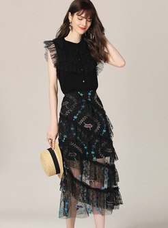 Mesh Embroidered Layered A-line Skirt