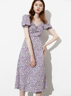 Floral Puff Sleeve Gathered Waist Skater Dress