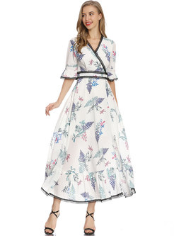 Flare Sleeve Patchwork Print Maxi Dress