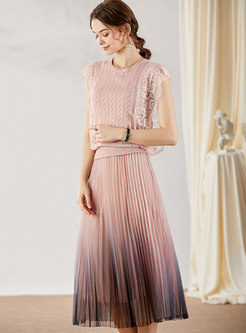 Lace Patchwork Knit Top & Mesh Pleated Skirt
