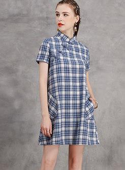 Plaid Stand Collar Shift Mini Dress