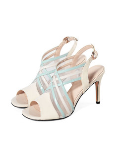 Mesh Patchwork Peep Toe Thin Heel Sandals