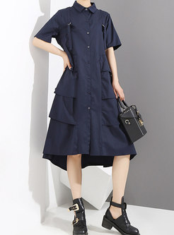 Lapel Buttoned Layered Loose Shirt Dress