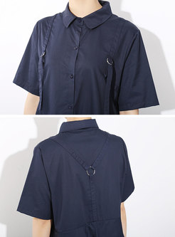 Lapel Button-front Layered Loose Shirt Dress