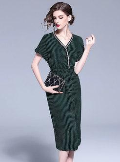Striped V-neck Beaded Slit Bodycon Dress