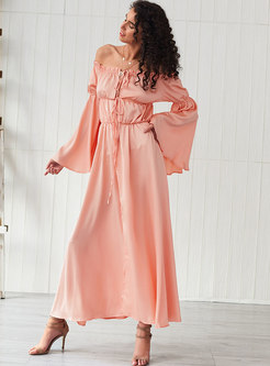 Off-the-shoulder Flare Sleeve Tied Maxi Dress
