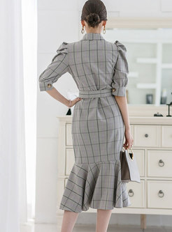 Plaid Puff Sleeve Belted Peplum Dress