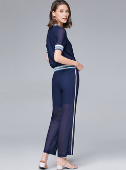 Striped Patchwork Perspective Casual Pant Suits