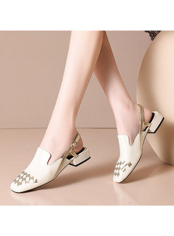 Color Block Square Toe Chunky Heel Shoes