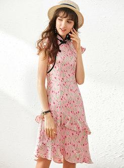 Sweet Stand Collar Floral Ruffle Skater Dress