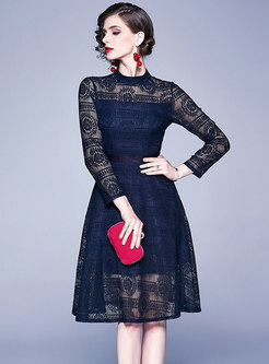 Lace Stand Collar Openwork A-line Dress