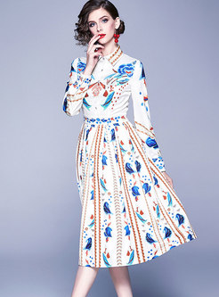 Print Lapel Gathered Waist Skater Dress