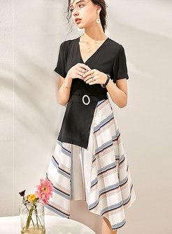 Striped Patchwork V-neck Asymmetric Skater Dress