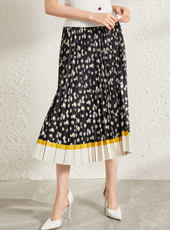 Color Block Floral Pleated A-line Skirt