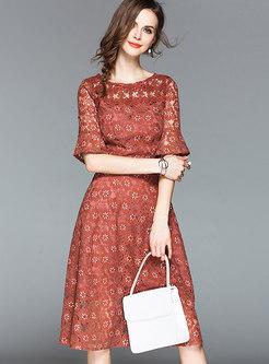 Lace Flare Sleeve Print Slim A-line Dress
