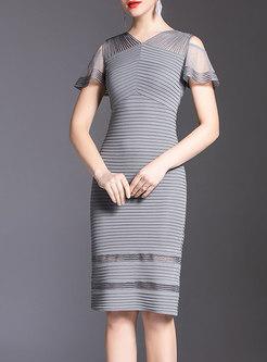 Open Shoulder Embroidered V-neck Bodycon Dress