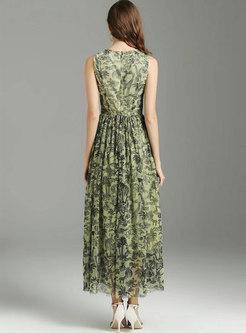 Mesh Print Sleeveless Bowknot Maxi Dress