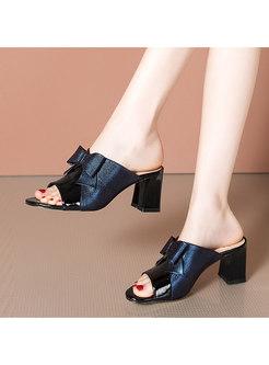 Block Heel Bowknot Open Toe Slippers