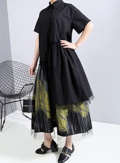 Lapel Print Patchwork Asymmetric Shirt Dress