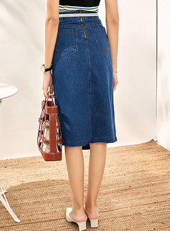 Denim High Waisted Asymmetric Slit Bodycon Skirt