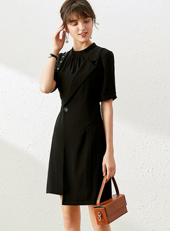 Mock Neck Patchwork Asymmetric A-line Dress